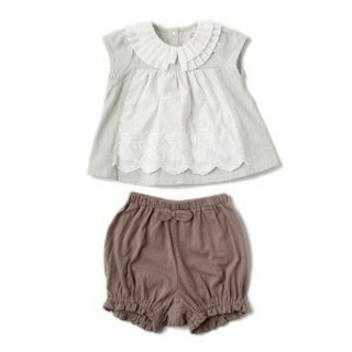 プティマイン(petit main)のベビー 女の子レースチュニックTシャツ×コットンブルマセット(その他)