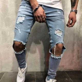 サイズが選べる ダメージデニム ブルー ネイビー 青 紺 パンツ メンズ