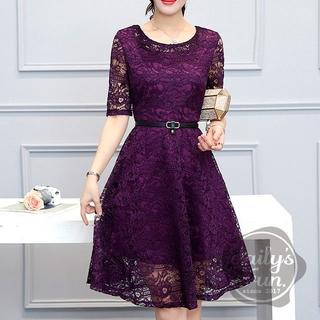 大人気★  総レース 紫 XL ワンピース ドレス フレア(ミディアムドレス)
