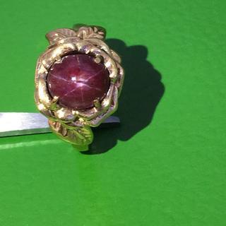 K18(750) 天然パープルスターサファイア デザインリング 指輪(リング(指輪))