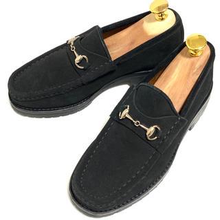 グッチ(Gucci)のGUCCI 34 C ホースビットローファー レディース ブラック スエード(ローファー/革靴)