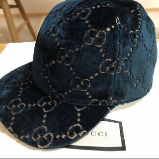 グッチ(Gucci)の今期最新作❗️ グッチチルドレン GG ベルベット  キャップ サイズ54センチ(帽子)