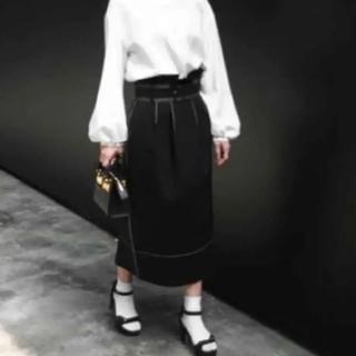 ルシェルブルー(LE CIEL BLEU)のルシェルブルー ベルト付きハイウェストスカート36(ひざ丈スカート)