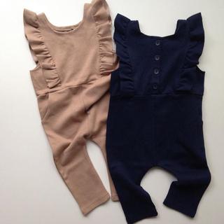 ザラキッズ(ZARA KIDS)の韓国子供服 サロペット 100 ネイビー(ワンピース)