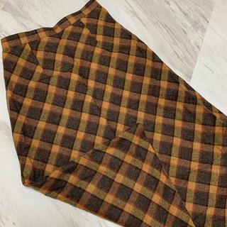 サンタモニカ(Santa Monica)の古着 ビンテージ チェックスカート 秋チェック タイトスカート 秋カラー (ロングスカート)