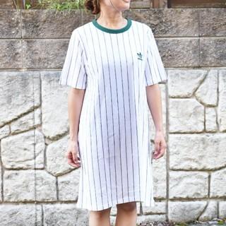 アディダス(adidas)の新品★ADIDASアディダス★ストライプワンピースTシャツ(ひざ丈ワンピース)