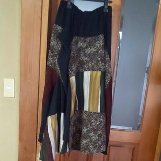 アンティカ(antiqua)の異素材変形スカートストライプ5(ロングスカート)