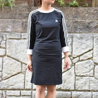 アディダス(adidas)の海外限定 新品★ADIDASアディダス★3ストライプ 七分袖ワンピース Mサイズ(ひざ丈ワンピース)
