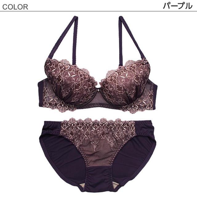 繊細な✨♥️ゴールドクラウン刺繍ブラショーツセット レディースの下着/アンダーウェア(ブラ&ショーツセット)の商品写真