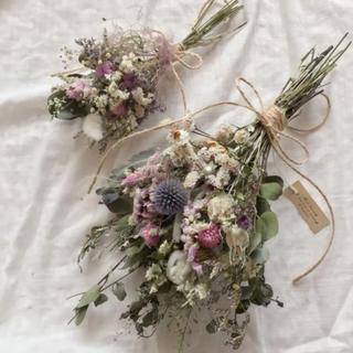 瑠璃玉アザミのPink&lavender スワッグ ドライフラワー  2点セット(ドライフラワー)