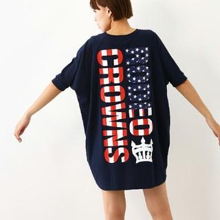 ロデオクラウンズ(RODEO CROWNS)のロデオクラウンズ アメリカンフラッグロゴ ビッグTシャツ ワンピース(その他)