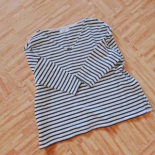 イエナスローブ(IENA SLOBE)の一度着用の美品 イエナ スローブ ボーダー カットソー 七分袖丈(カットソー(長袖/七分))