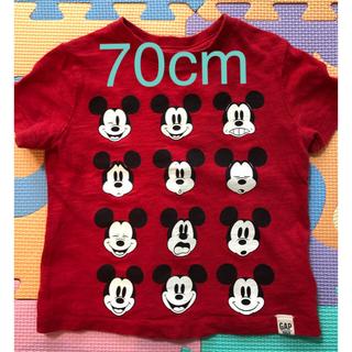 ギャップ(GAP)のGAP ミッキーTシャツ 赤 70cm(Tシャツ)