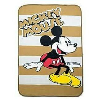 ミッキーマウス(ミッキーマウス)のミッキーマウス[キャラクターロゴ ボーダー柄ブランケット(おくるみ/ブランケット)