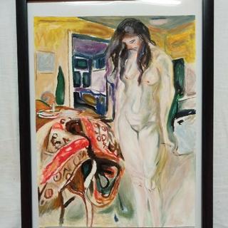 ムンク 模写作品 藤椅子の傍に立つ裸婦 実物大(絵画/タペストリー)