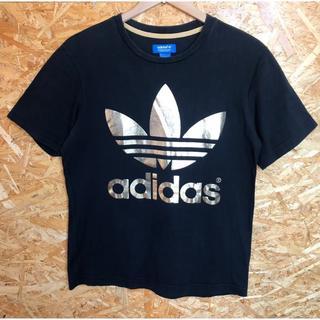アディダス(adidas)のadidas 黒×金 Tシャツ 両面プリント ゴールドビックトレフォイル(Tシャツ/カットソー(半袖/袖なし))