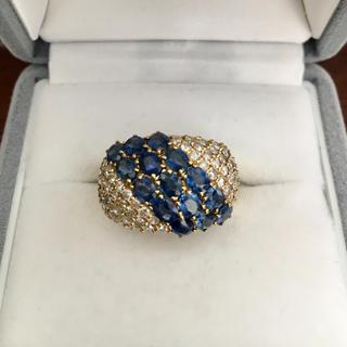 ダイヤモンド×サファイアリング K18YG 3.45ct 1.00ct 8.6g(リング(指輪))