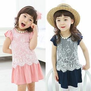 結婚式 フロント レース ワンピース フォーマル 夏服 韓国 子供服(ワンピース)