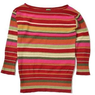 ベネトン(BENETTON)の◇BENETTON◇sizeaboutL border sweater(ニット/セーター)