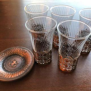 アンティークグラス&ソーサー 5個セット(グラス/カップ)