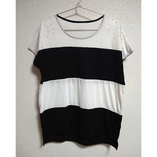 シマムラ(しまむら)のデザイン バイカラーカットソー 白×黒 Mサイズ(カットソー(半袖/袖なし))