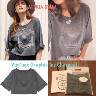 アリシアスタン(ALEXIA STAM)のアリシアスタン AW Tシャツ 新作 Vintage Tee Charcoal(Tシャツ(長袖/七分))
