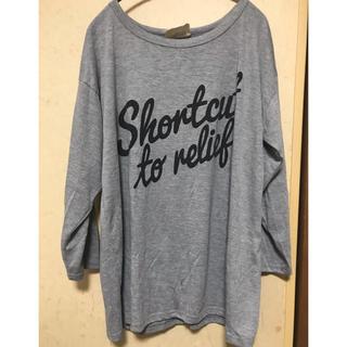しまむら - グレー☆長袖Tシャツ☆大きめLサイズ