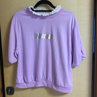 半袖 トップス  襟レース 紫 パープル(カットソー(半袖/袖なし))