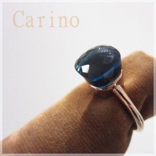 大粒 天然石 キャンディ リング ゴールド ブルー(リング(指輪))