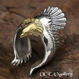 送料無料 18号 シルバー ゴールド ビッグ メタル イーグル リング 指輪 鷲(リング(指輪))