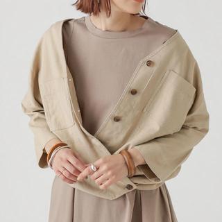 ミスティック(mystic)のOmekashi ノーカラーリネンシャツジャケット(ノーカラージャケット)