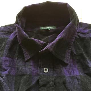 アオヤマ(青山)のメンズ 長袖シャツ 紫黒チェック柄(シャツ)