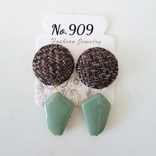 No.909 ツイード×アクリル(ピアス)