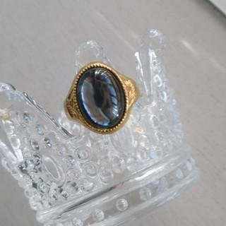 昭和レトロ 硝子 リング 指輪 ヴィンテージ 大ぶり コスチュームジュエリー(リング(指輪))
