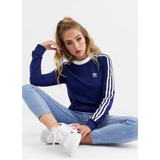 アディダス(adidas)の【Mサイズ】adidas アディダス 3ストライプ ロングスリーブ ネイビー(Tシャツ(長袖/七分))