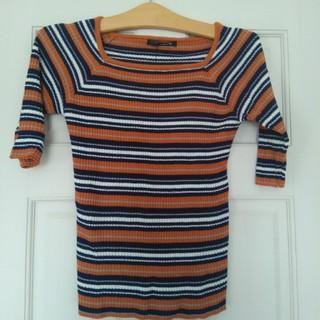 未使用 5分袖 ニット セーター オレンジ Lサイズ(ニット/セーター)