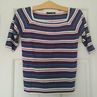 未使用 5分袖 ニット セーター ブルー Lサイズ(ニット/セーター)