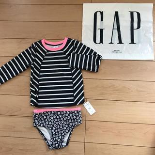 ベビーギャップ(babyGAP)の新品★ 90cm gap 水着 ラッシュガード ボーダー 小花柄(水着)