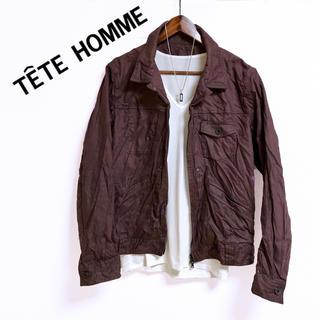 TETE HOMME - TETE HOMME ミリタリーブルゾン ワインレッド エンジ 長袖シャツ