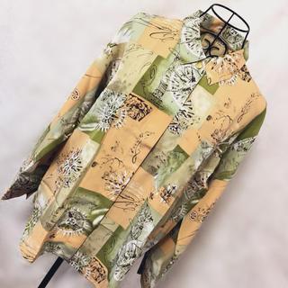 グリモワール(Grimoire)のヴィンテージ 新品タグ付 レトロ 総柄 襟付きシャツ 壁画 絵画 アート柄(シャツ)