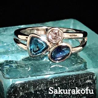 11号 ブルートパーズ サファイア グラデーション リング 指輪 人気デザイン(リング(指輪))