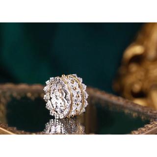 K18YG+ K18WG ダイヤモンドリング 0.942カラット 超美品(リング(指輪))