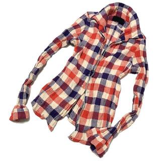ジュンハシモト(junhashimoto)のジュンハシモト リンクルチェックフックシャツ 1 junhashimoto 美品(シャツ)