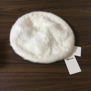 コムサイズム(COMME CA ISM)のコムサイズム シャギー ベレー帽 ホワイト ファー(ハンチング/ベレー帽)