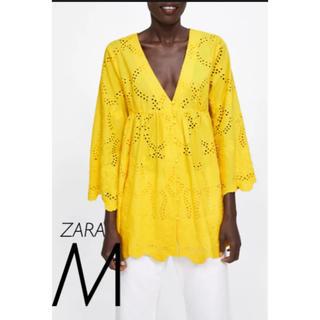 ザラ(ZARA)の【新品・未使用】ZARA カットワーク 刺繍 ブラウス M(シャツ/ブラウス(長袖/七分))