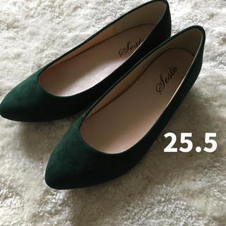 sesto ローヒール パンプス 深緑 ダークグリーン 25.5cm  used(ハイヒール/パンプス)