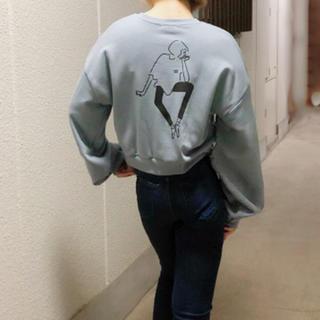 【161】韓国ファッション 女の子プリント トレーナー ブルー(トレーナー/スウェット)