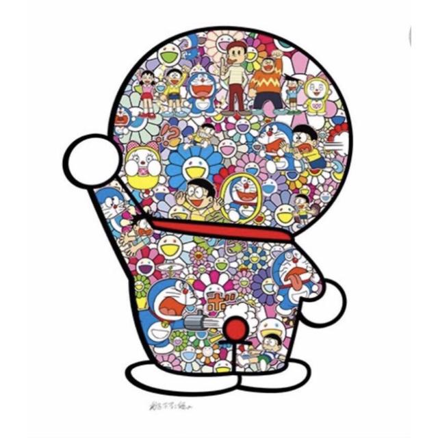 本物新品 村上隆 ドラえもん ポスター 不二雄先生とドラえもんがお花畑に居る エンタメ/ホビーの美術品/アンティーク(版画)の商品写真
