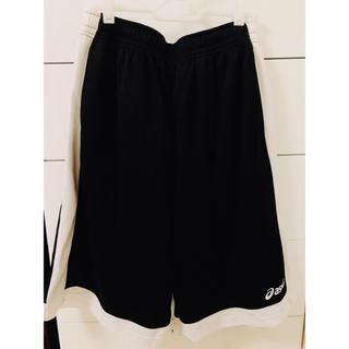 アシックス(asics)の  美品 asics バスパン Oサイズ バスケ パンツ ショーツ 黒 白(バスケットボール)