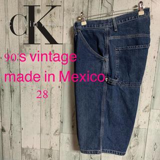 カルバンクライン(Calvin Klein)の90's カルバン・クライン メキシコ製 ペインターデニムハーフパンツ 激レア(ペインターパンツ)